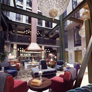 Hotell-lobbyn i The Steam Hotel är storslagen